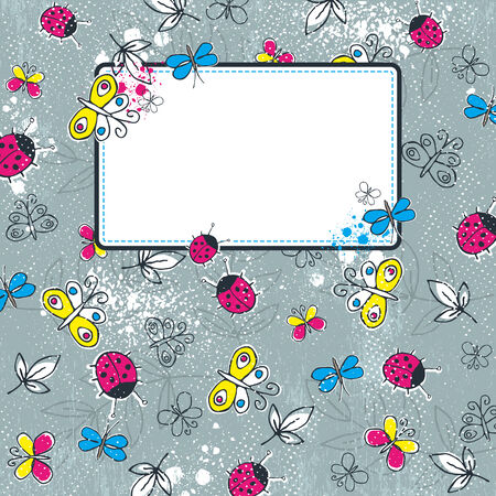 grunge background with  butterflies,   illustration Vector