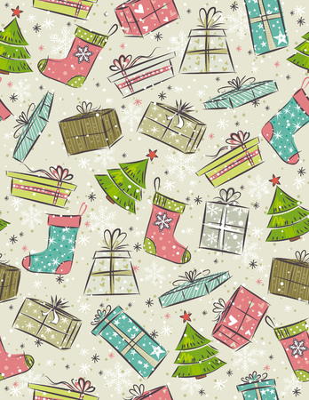 tree trimming: color background with christmas present,tree,sock,   illustration