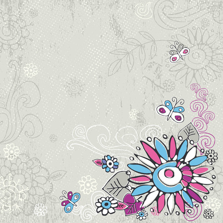 hand draw  flowers on grey background Vector