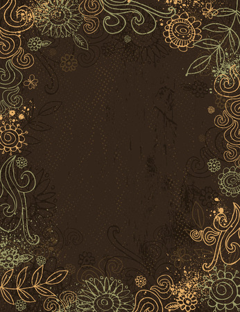 hand draw  flowers on brown background Vector