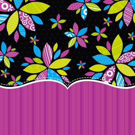 black background with  color flowers, illustration Vector