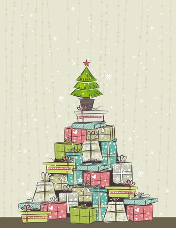 color background with christmas present and one tree,  illustration Vector