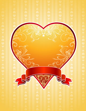 lovely golden heart with red ribbon,   illustration Vector