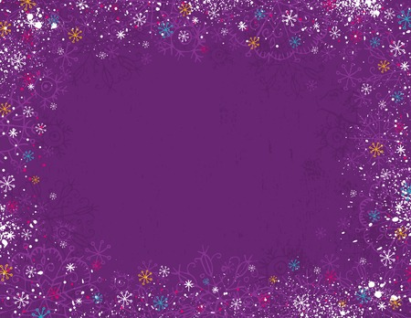 violet christmas background with hand draw snowflakes, illustration