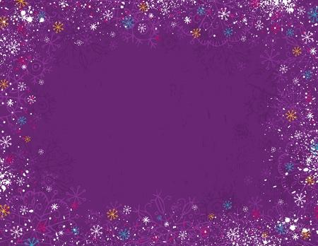 Violet arrière-plan de Noël avec main dessiner des flocons de neige, illustration  Vecteurs