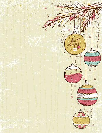 scrawl: sfondo beige di Natale con le palle di Natale, illustrazione