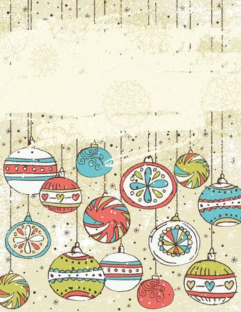 garabatos: Fondo beige con bolas de Navidad, ilustraci�n  Vectores