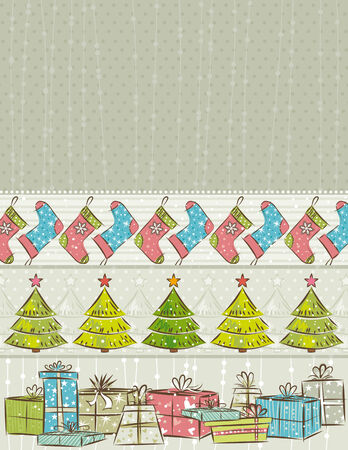 color background with christmas present,trees,socks,    illustration