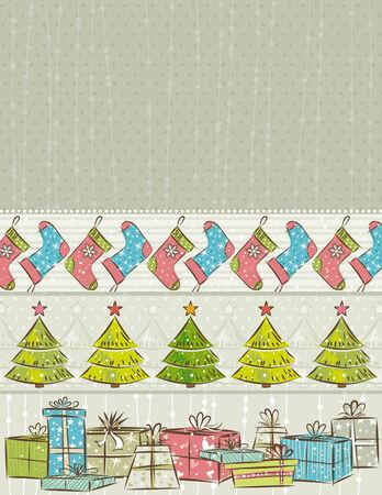 winter wallpaper: color de fondo con el regalo de Navidad, �rboles, calcetines, ilustraci�n