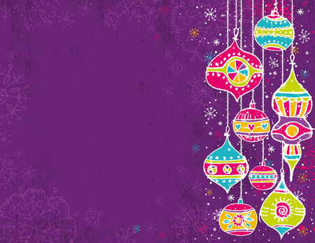 holiday picture: color background with christmas balls,  illustration