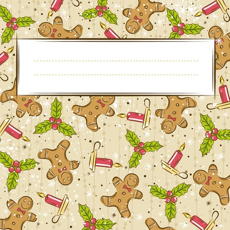 grunge background with christmas elements and one label,   illustration
