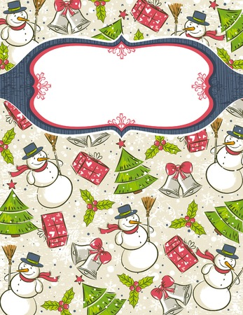 grunge background with christmas elements and label for message,   illustration Vector