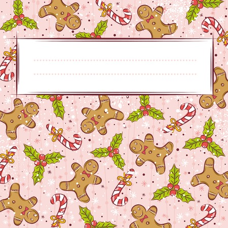 gingerbread cookie: grunge pink background with christmas elements,  vector illustration