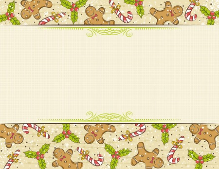 beige background with christmas elements, vector Vector