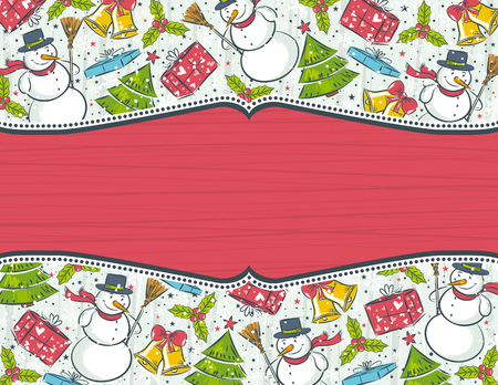 background with christmas elements and red label for message,  vector illustration