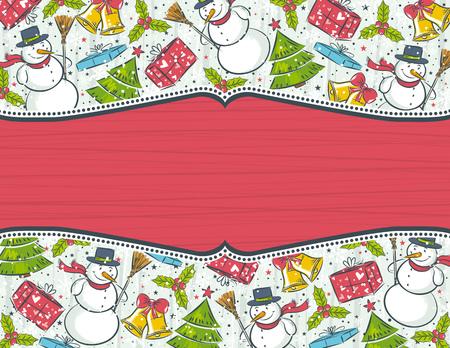 scrawl: sfondo elementi di Natale con etichetta rossa per messaggio, illustrazione vettoriale