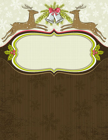 grunge background with christmas elements and one label,  vector illustration