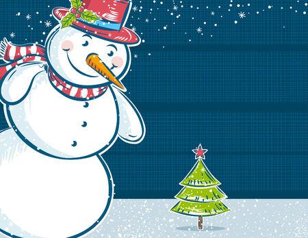 background with snowman and one christmas tree,  vector illustration Vector