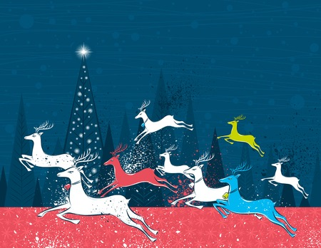 Running christmas deers in the blue forest,  vector illustration Vector