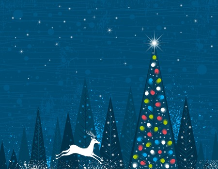 Christmas tree in forest of alders and one running deer,  vector illustration Illustration
