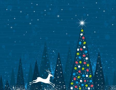 garabatos: �rboles de Navidad en el bosque de alisos y una ejecuci�n ciervos, ilustraci�n vectorial