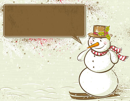 message vector: background with snowman and label for message,  vector illustration