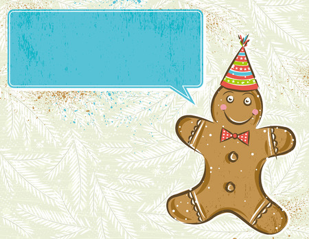 background with Gingerbread man and label for message,  vector illustration Vector
