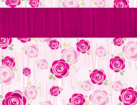 pink valentine background with  roses,  vector illustration Stock Vector - 7972840