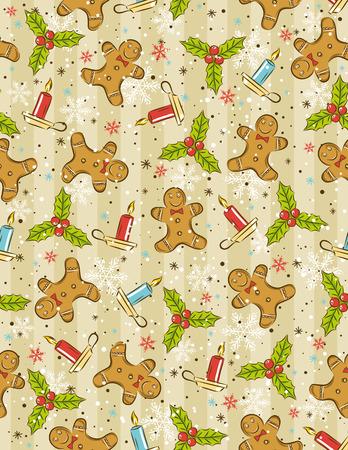 lebkuchen: Geschenkpapier mit Weihnachten Elemente, vector illustration  Illustration