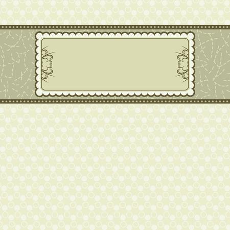 beige stof:  Label op beige achtergrond, vectorillustratie Stock Illustratie