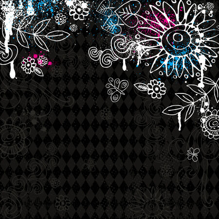 hand draw  flowers on black background Stock Vector - 7972847