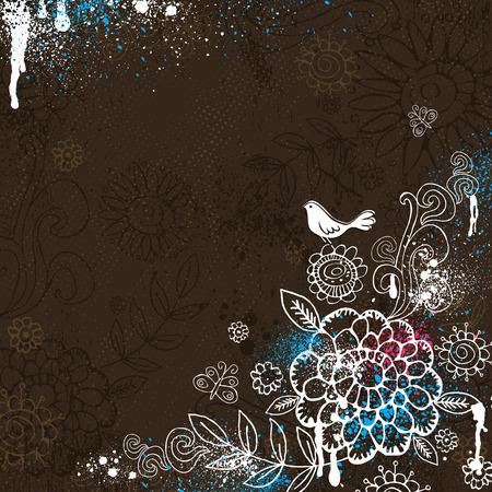 スクラップブッキング: 手は茶色の背景に花を描く