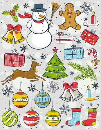 background with christmas elements  Çizim