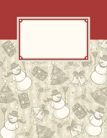 background with christmas elements and label for message  Vettoriali