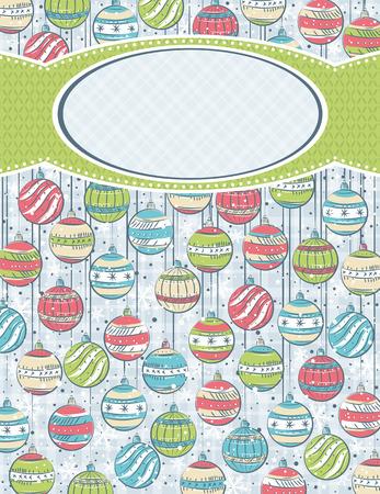 scrawl: sfondo con palle di Natale ed etichetta per messaggio