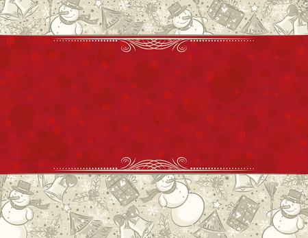scrawl: sfondo con elementi di Natale e label per messaggio