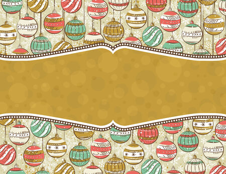background with christmas balls and label for message,  illustration Vector