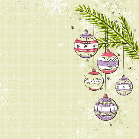 scrawl: sfondo beige con le palle di Natale di colore, illustrazione