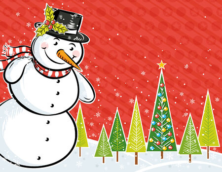 background with snowman and christmas tree in a forest,  illustration Vector