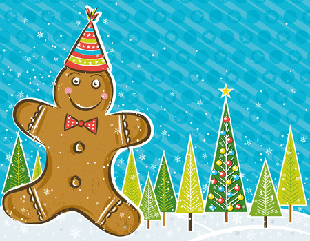 background with Gingerbread man and forest of pines,  illustration Vector