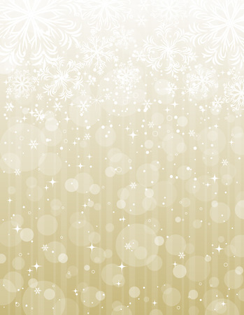 golden christmas background with snowflakes, illustration