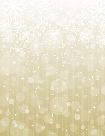 Noël dorée sur fond flocons de neige, illustration