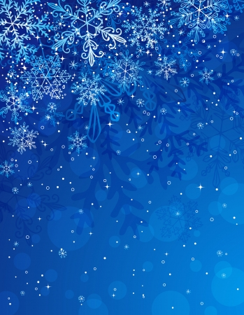 blue christmas background with snowflakes, illustration Vettoriali