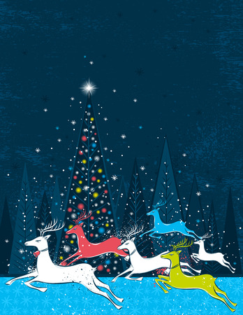 Running christmas deers in the blue forest,  illustration