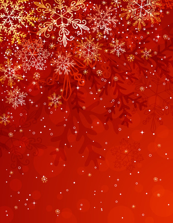 red christmas background with snowflakes, illustration Vettoriali