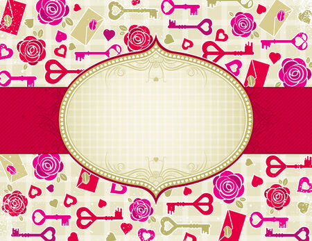 beige valentine background with pink and red hearts and roses,  vector illustration Vector