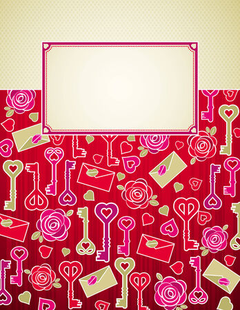 red valentine background with pink and red hearts and roses,  vector illustration Vector