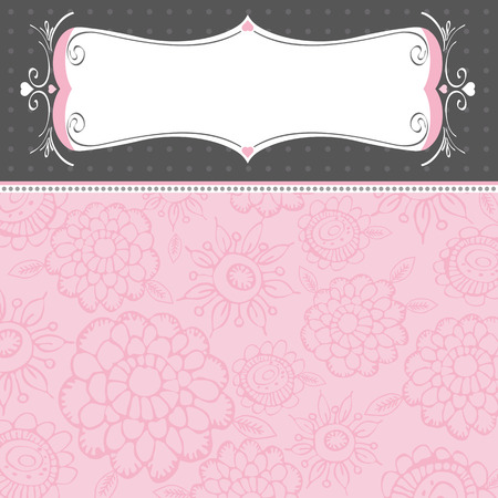 Fondo de color rosado con flores decorativas Vectores
