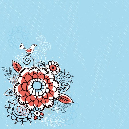 hand draw: hand draw  flowers on  blue grunge background