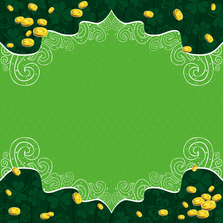green background with shamrock and   golden coins Stock Vector - 8394643